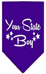 North Dakota Boy Screen Print Souvenir Pet Bandana Purple Small