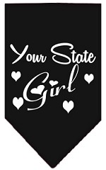 New Mexico Girl Screen Print Souvenir Pet Bandana Black Small