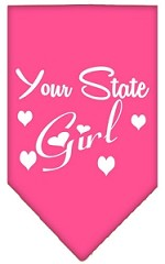 New Mexico Girl Screen Print Souvenir Pet Bandana Bright Pink Small