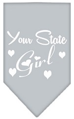 New Mexico Girl Screen Print Souvenir Pet Bandana Grey Small