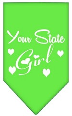 New Mexico Girl Screen Print Souvenir Pet Bandana Lime Green Small
