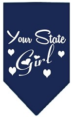 New Mexico Girl Screen Print Souvenir Pet Bandana Navy Blue Small