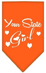 New Mexico Girl Screen Print Souvenir Pet Bandana Orange Small