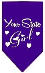 New Mexico Girl Screen Print Souvenir Pet Bandana Purple Small