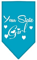 New Mexico Girl Screen Print Souvenir Pet Bandana Turquoise Small