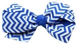 Hair Bow Chevron French Barrette Blue