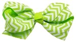 Hair Bow Chevron French Barrette Green