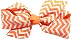 Hair Bow Chevron French Barrette Orange