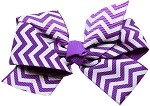 Hair Bow Chevron French Barrette Purple