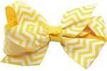 Hair Bow Chevron French Barrette Yellow