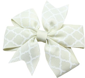 Hair Bow Quatrefoil French Barrette Cream