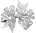 Hair Bow Quatrefoil French Barrette Grey