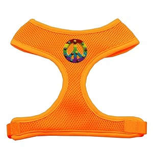 Rainbow Peace Sign Chipper Orange Harness Small