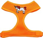 Unicorn Embroidered Soft Mesh Harness Orange Small