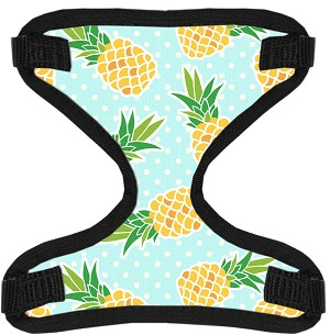 Pineapples and Polka Dots Canvas and Mesh Pet Harness Medium