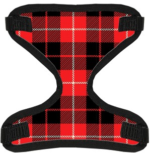 Red Plaid Canvas and Mesh Pet Harness Medium