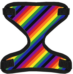 Rainbow Stripes Canvas and Mesh Pet Harness Small