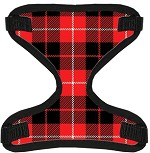 Red Plaid Canvas and Mesh Pet Harness Small
