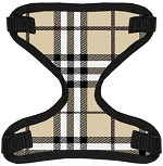 Cream Plaid Canvas and Mesh Pet Harness Small