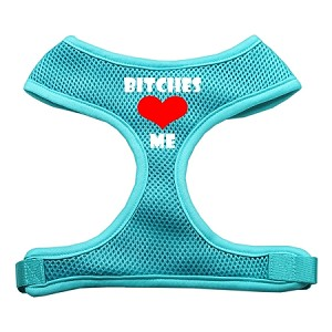 Bitches Love Me Soft Mesh Harnesses Aqua Large