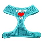 Bitches Love Me Soft Mesh Harnesses Aqua Small