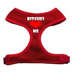 Bitches Love Me Soft Mesh Harnesses Red Small