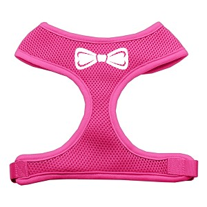 Bow Tie Screen Print Soft Mesh Harness Pink Large