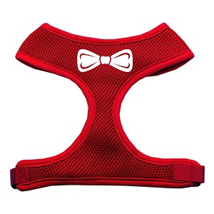 Bow Tie Screen Print Soft Mesh Harness Red Small