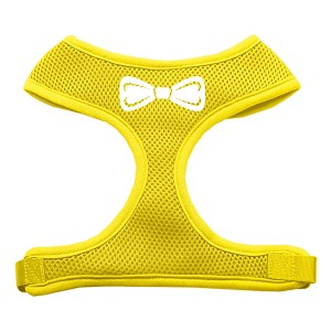 Bow Tie Screen Print Soft Mesh Harness Yellow Medium