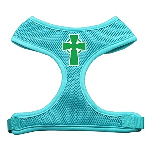 Celtic Cross Screen Print Soft Mesh Harness Aqua Medium