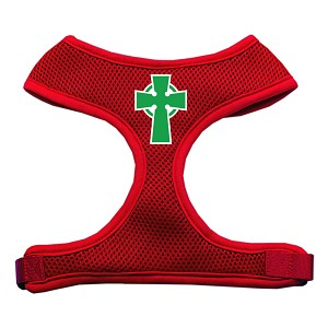 Celtic Cross Screen Print Soft Mesh Harness Red Large