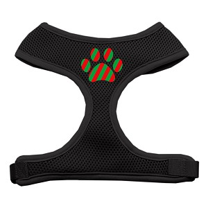 Christmas Paw Screen Print Soft Mesh Harness Black Small