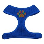 Christmas Paw Screen Print Soft Mesh Harness Blue Extra Large