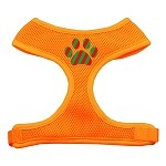 Christmas Paw Screen Print Soft Mesh Harness Orange Extra Large