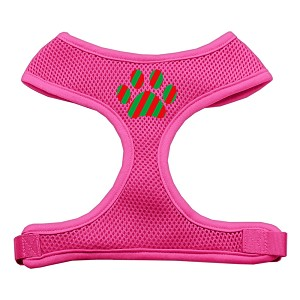 Christmas Paw Screen Print Soft Mesh Harness Pink Small