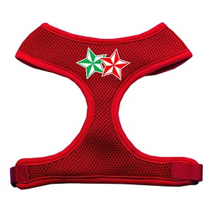 Double Holiday Star Screen Print Mesh Harness Red Small
