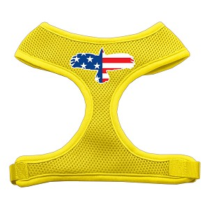 Eagle Flag Screen Print Soft Mesh Harness Yellow Small
