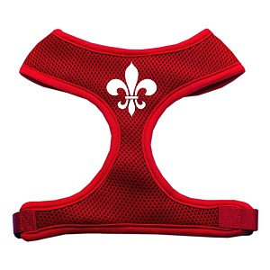 Fleur de Lis Design Soft Mesh Harnesses Red Small