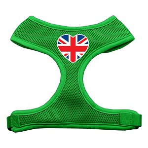 Heart Flag UK Screen Print Soft Mesh Harness Emerald Green Extra Large