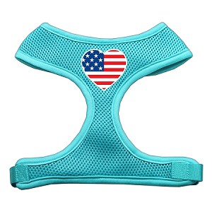 Heart Flag USA Screen Print Soft Mesh Harness Aqua Large