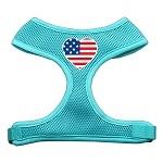 Heart Flag USA Screen Print Soft Mesh Harness Aqua Small