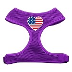 Heart Flag USA Screen Print Soft Mesh Harness Purple Small