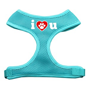 I Love U Soft Mesh Harnesses Aqua Large
