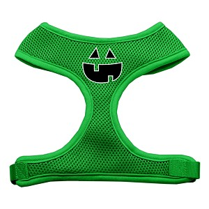 Pumpkin Face Design Soft Mesh Harnesses Emerald Green Large