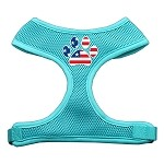 Paw Flag USA Screen Print Soft Mesh Harness Aqua Small