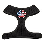 Paw Flag USA Screen Print Soft Mesh Harness Black Small