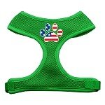 Paw Flag USA Screen Print Soft Mesh Harness Emerald Green Small