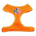 Paw Flag USA Screen Print Soft Mesh Harness Orange Small