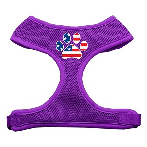 Paw Flag USA Screen Print Soft Mesh Harness Purple Large