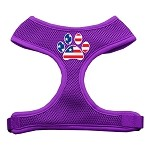 Paw Flag USA Screen Print Soft Mesh Harness Purple Small
